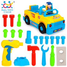 HUILE TOYS 789 Bump'n'Go Toy Truck with Electric Drill and Various Tools, Lights and Music Toys for Kids Baby Toy Gift