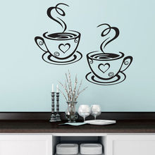 New Design Decals Pair Of Coffee Cups Wall Stickers Heart Shape Vinyl Wall Decal For Dining Room Removable Decoration Cafe ZA538(China)