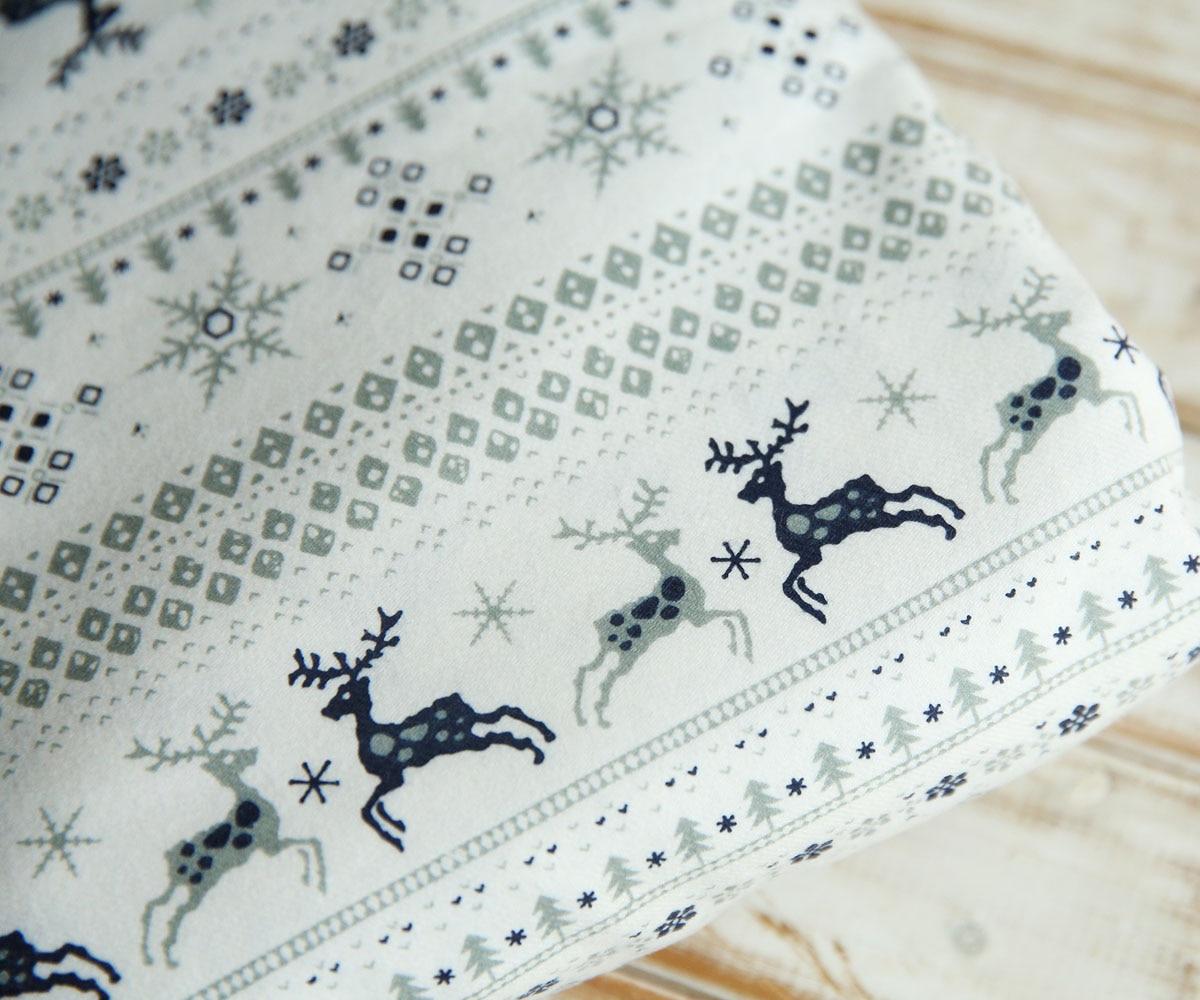 110 см x 50 см Ретро Рождество Тонкий белый полосатый Лось Олень снежные сосны хлопчатобумажной ткани ручной работы DIY бытовой Игрушка ткани(China)