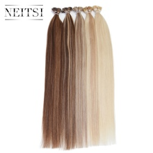 "Neitsi Straight Human Fusion Hair I Tip Stick Tip Keratin Machine Made Remy Human Hair Extensions 20"" 1.0g/s 5 Piano Colors(China)"