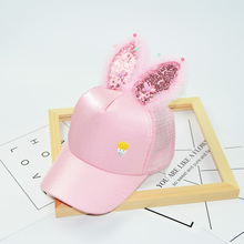 HAPPYTAIL Cute Baby Girl's Cap Summer Character Sequins Bunny Ears Baseball Cap 2-8 Years Kids Black White Pink Kawaii Sun Cap(China)