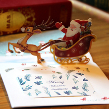 3D Pop Up Santa Claus with Reindeer Sled New Year Greeting Card Christmas Postcard Thank You with Message Card & Envelope JK379
