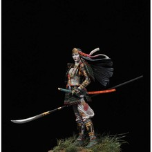 Unpainted Kit 1/18 90mm battle of Japanese woman warrior 90mm figure Resin Figure Model Kit Resin Kit Unassambled(China)