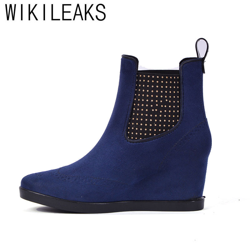 Wikileaks Women Winter High Quality Suede Rainboots Plus Size Shoes Woman Solid Diamond Wedges Handmade Waterproof Snow Boots <br>