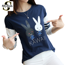 KAWAII Rabbit Cartoon T-shirt Women Long Sleeve Womens Tops 2017 New Arrivals Lady Letters Top Tees Casual Shirts Female Clothes