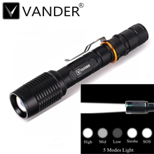 Tactical CREE XML T6 LED 2000Lm Led Torches Zoomable LED Flashlight Lamp 2x18650 Battery + Charger E17 Black Color White Light