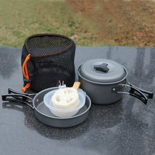 8pcs Outdoor Camping Hiking Cookware Backpacking Cooking Picnic Bowl Pot Pan Set Aluminum Alloy for Camping Hiking New Arrivel