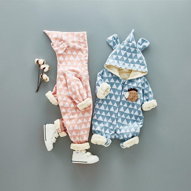 Super Warm Children Winter Jumpsuit Rompers Hedgehog Baby Girl Winter Coat Cartoon Boys Snowsuit Hooded Infant Overalls 0.8kg<br>