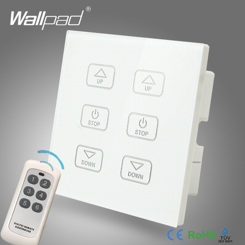 110V-250V  LED Dimmer Switch Wallpad White Crystal Glass Panel 6 Buttons Wireless Remote Control 2 Lamps Dimmer Wall Switch<br>