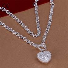 Beautiful silver plated necklace for women heart lock & key pendants link chain femme fashion jewelry for couple lover CCNE0716