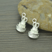 15 pcs Fashion silver plated charms metal cake pendant diy jewelry necklace 4289B
