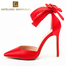 Red Sandals Women High Heels Sandals Pointed Toe Ankle Strap Summer Sandals Women Sexy Dress Shoes Woman Lace Up Sandals K-013