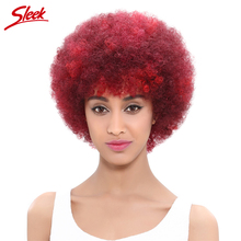 Sleek Fashion Color Afro Kinky Curly Wig 100% Human Hair Wigs for Black Women Non Lace Wigs for African Americans Red Or #2(China)