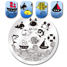 BORN PRETTY 1 Pc Nail Art Template Round Stamping Plate Ocean Dolphin Fish Crab Boat Manicure Nail Art Image Plate BP-133
