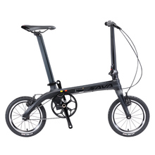 SAVA Folding Bike Folding Bicycle 14 inch Carbon Fiber Frame Single-Speed Urban Bike Mini City Foldable Bike With Headlights(China)