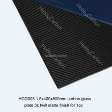 Carbon Glass twill matte plate/board Free shipping by HK post + 1.5X400X500mm carbon glass sheet(China)