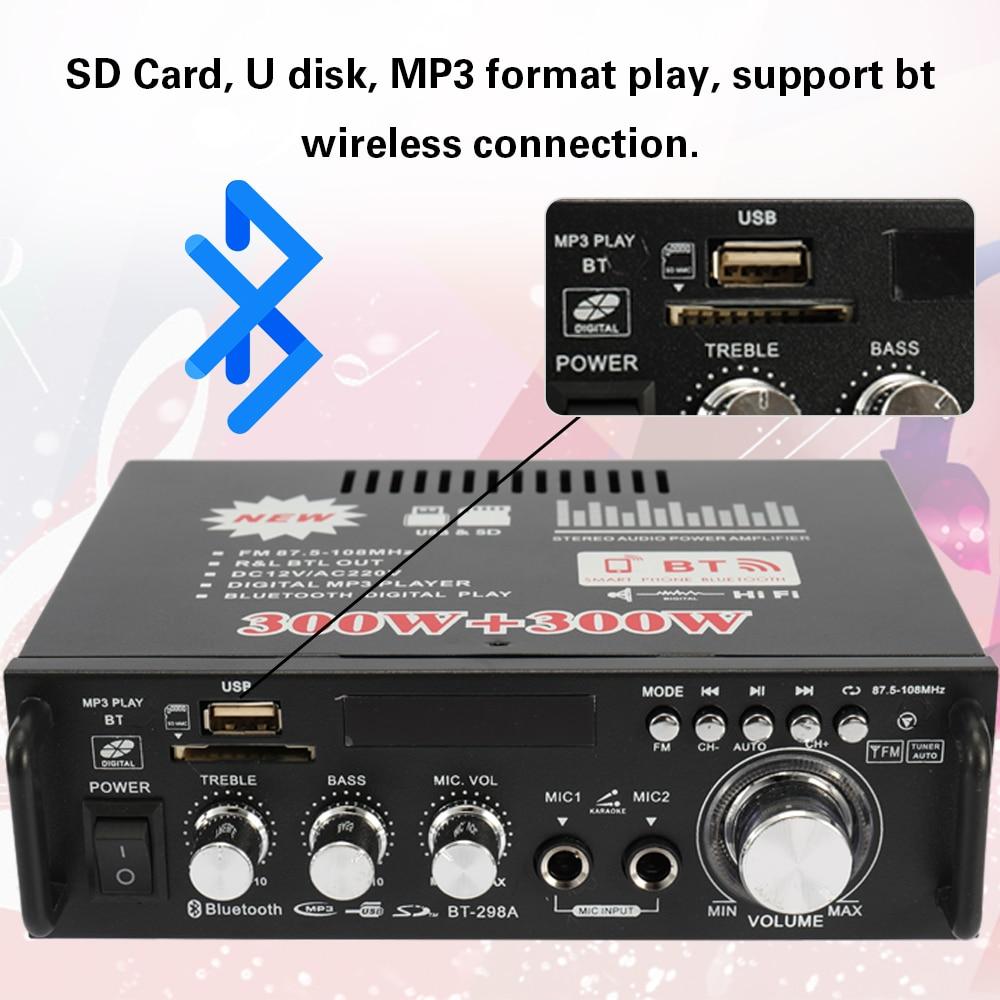 Docooler 12V// 220V Mini Audio Amplifier 2CH LCD Display HIFI Audio Stereo Power Amplifier BT FM Radio Portable Car Home 600W Remote Control Audio Amplifier