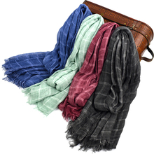 100% Cotton Scarf Men High Quality Long Fashion Plaid Scarf Luxury Warm Autumn And Winter Scarves