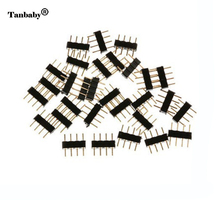 Tanbaby 4 Pin RGBConnector Adapter 5pin RGBW needle male type double For 5050 3528 LED Strip DIY lights insert(China)