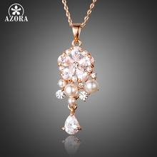 AZORA Lucky Flower Rose Gold Color Clear Waterdrop Top grade CZ Pendant Necklace TN0140