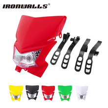 Ironwalls Motorcycle Headlight Fairing Kit H4 35W Bulb lamp For Yamaha Honda Suzuki Kawasaki Street Fighter Enduro 12V Dirt Bike(China)