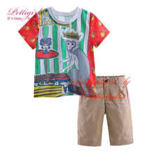 Pettigirl New Summer Kids Boys Clothing Sets With Monkey Pattern t-shirt And Casual Pants Children Boy Clothes Suits CS90318-18L(China)