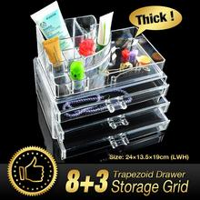 WITUSE 11 Grids 4 Layer Jewelry Box Skin Care Rack Clear Acrylic Sundry Cabinet Drawers Make up Organizer Storage Holder