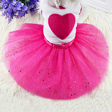 Pet Dog Love Heart Sequins Gauze Tutu Dress Skirt Puppy Cat Rose Red Clothes(China)