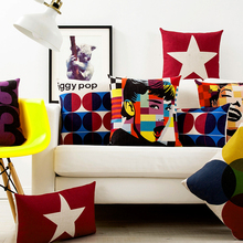 Hepburn Monroe Digital Geometry Five-Pointed Star Case Home Decorative Pillow Thick Linen Pillowcase Sofa Cushion