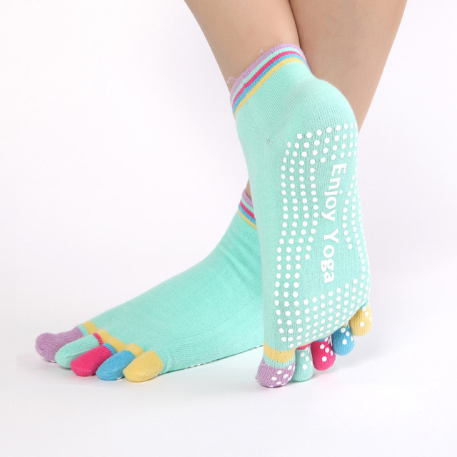Women Sports Colorful Yoga Socks Hot Fitness And Pilates Cotton Socks Rainbow Workout Anti Slip Toe Socks Breathable
