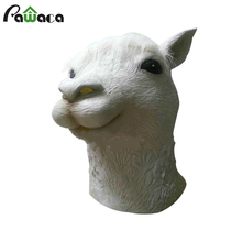 2017 Latex Alpaca Full Face Mask Sheep Head Cosplay Costume Halloween Props Tricks Clown Masquerade Party Mask Adults Christmas(China)
