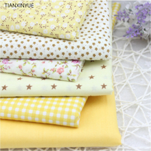 Flower Cotton Fabric clothing DIY Patchwork Sewing Bedding BagTalasite Love Yellow 6 pcs Cloth HOME Textiles Fabric 40*50cm(China)
