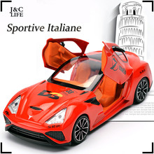 J&CLIFE 1:32 Italy parkour Car Model Toys Metal Alloy Diecast Toy Car Model Miniature Scale Model Sound and Light Cars Gifts(China)
