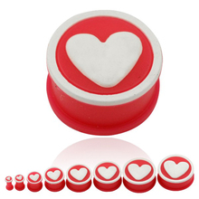 4-25mm Silicone Flesh Tunnel Ear Stretching Heart Plugs and Tunnels for Women Ear Expander Gauges and Plugs Safe Body Jewelry