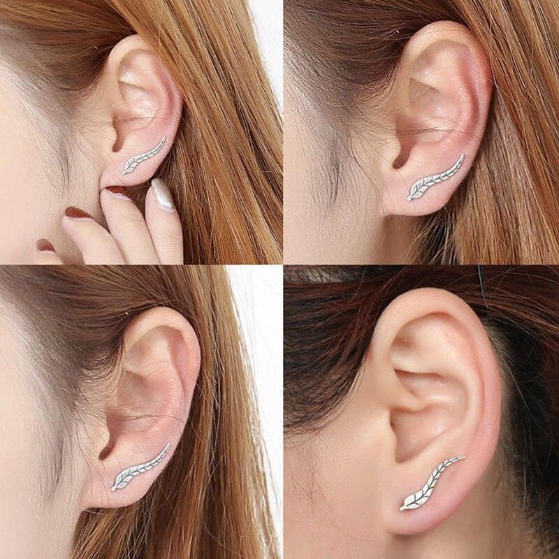 Shellard Vintage Leaf Design Leaves Ear Crawler Stud Earring Fashion Vines Sweep Pin Earring For Women Jewelry Accessories