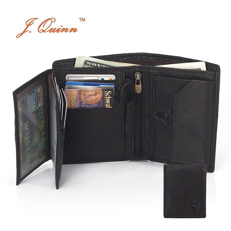 J.Quinn Hisper Enough ID Card Coin Wallet with Dual Zipper Pocket Genuine Leather Mens Wallets Business Bill Short Mens Purses<br><br>Aliexpress