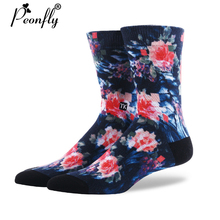 Buy PEONFLY 2017 NEW creative men women fashion art socks color printing socks cotton flowers trees pattern socks for $7.14 in AliExpress store