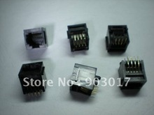 Black 8P8C With flange Top entry Modular Network PCB Jack Connector 12 pcs por lot(China)