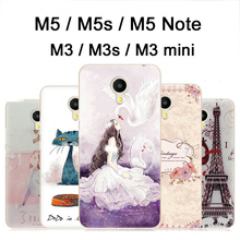 M 5 Meizu m5s case cover TPU Cartoon soft case for Meizu m5 note case cover m5note New painting M 3 Meizu m3s m3 mini case cover(China)