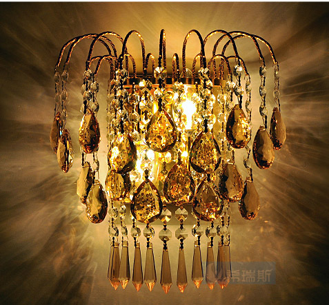 Golden Royal King Imperial Crown Luxury Tawny Crystal Hanging Bedroom Wall light Free Shipping Modern Romantic Crystas Wall Lamp<br><br>Aliexpress