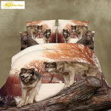 HOT SALE 3D  Duvet cover sets include duvet cover/bed sheet/pillow cases  3D Animal Wolf bedding set Double/Queen/King