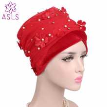 Wholesale 5pcs/lot women 3D flower beaded Extra long velvet turban Head Wrap Nigerian Turban head scarf Africa hijab Turbante(China)