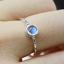 925 silver jewelry wholesale blue strong bright natural Moonstone natural exquisite lady Sterling Silver Ring