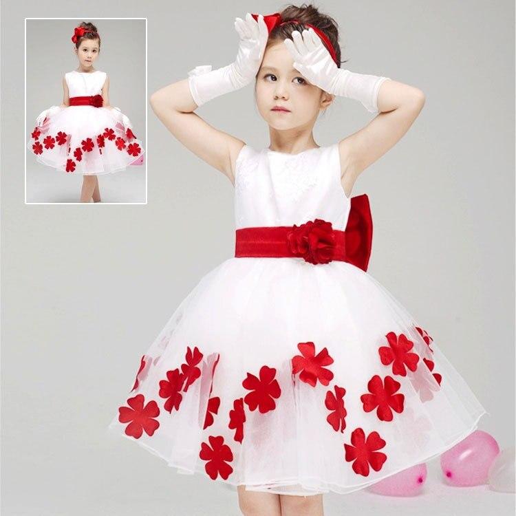 2015 New Summer Children Clothing Girls Princess Wedding Dress Baby Beautiful Petal One-piece Mesh Sleeveless Dress With Belt<br><br>Aliexpress