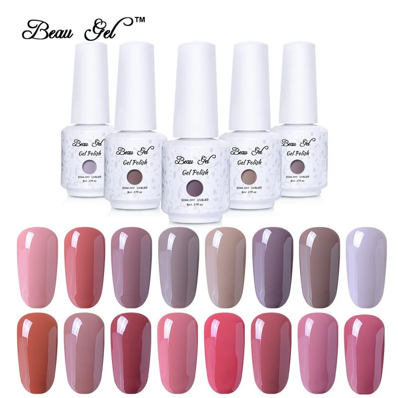 Beau Gel 8ML Nude Color Series Nail Polish Long Lasting Nail Gelpolish Gel Varnish For Nail Art Design Gel Polish All 24 Colors<br>
