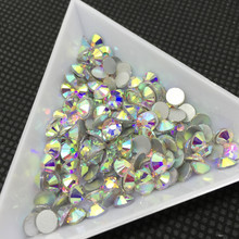 TopStone All Sizes SS3~ss50 Crystal Clear AB Color Glass Non Hotfix Rhinestones Flatback Gule On Stones for Nail art(China)