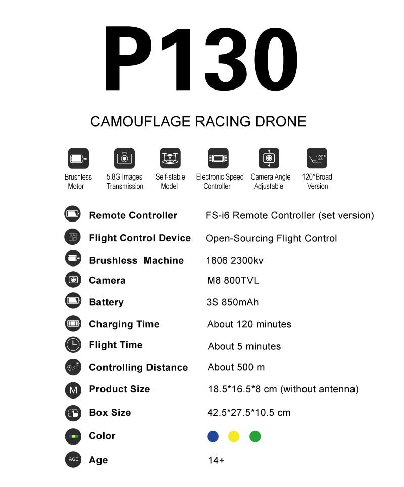 JJRC JJPRO Original P130 Battler 130mm 800TVL Camera 5.8G FPV Micro Racing Drone Quadcopter Based on CC3D Flight Controller ARF