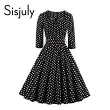 Sisjuly style vintage dress black polka dot party dresses line 1950s retro rockabilly pin vestido 2017 - store