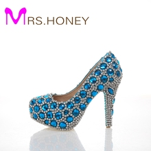 Beautiful Fashion Blue Wedding Shoes for woman Rhinestone Bridal Dress Shoes Lady High Heel Luxurious Party Prom Shoes
