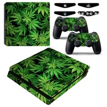 Cannabis Weed Leafs PS4 Slim Vinyl Skin Decal Sticker Cover Case for Sony Playstation4 Slim Console & Controller & LED Light Bar(China)